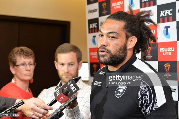 Adam Blair of New Zealand speaks to the media during the New Zealand Kiwis captain's run on November 17 2017 in Wellington New Zealand