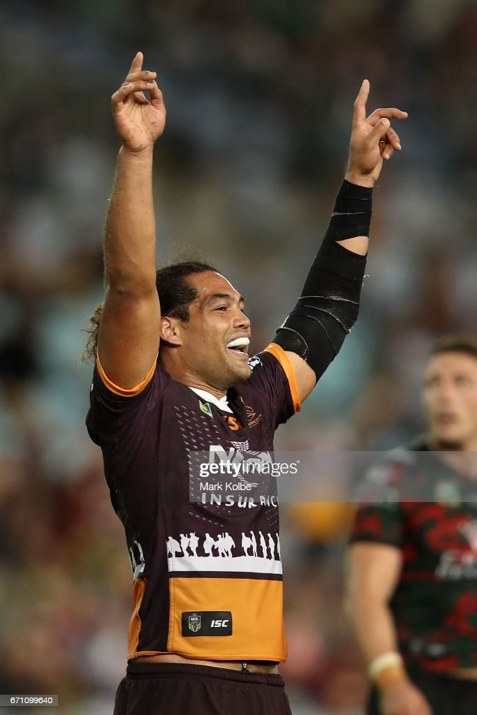 Adam Blair of the Broncos celebrates victory during the round eight NRL match between the South Sydney Rabbitohs and the Brisbane Broncos at ANZ Stadium on April 21, 2017 in Sydney, Australia.