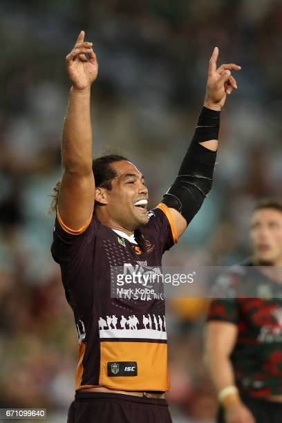 Adam Blair of the Broncos celebrates victory during the round eight NRL match between the South Sydney Rabbitohs and the Brisbane Broncos at ANZ...