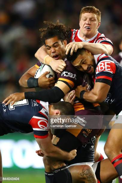 Adam Blair of the Broncos is tackled during the NRL Qualifying Final match between the Sydney Roosters and the Brisbane Broncos at Allianz Stadium on...