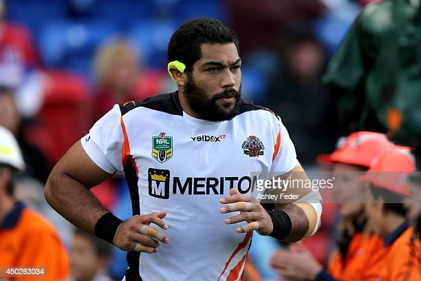 Adam Blair of the Tigers runs onto the ground during the round 13 NRL match between the Newcastle Knights and the Wests Tigers at Hunter Stadium on...