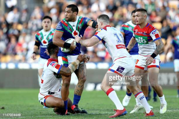 Adam Blair of the Warriors charges forward during the round eight NRL match between the New Zealand Warriors and the Newcastle Knights at Mt Smart...