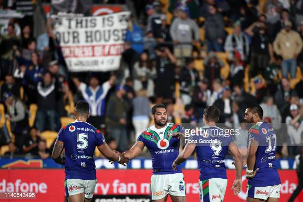 Adam Blair of the Warriors congratulates his team mates during the round 4 NRL match between the Warriors and the Titans at Mt Smart Stadium on April...