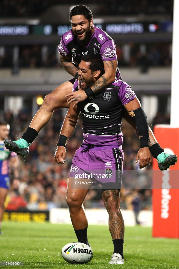 Adam Blair of the Warriors is congratulated on his try and lept upon by Issac Luke during the round 22 NRL match between the New Zealand Warriors and the Newcastle Knights at Mt Smart Stadium on August 10, 2018 in Auckland, New Zealand.