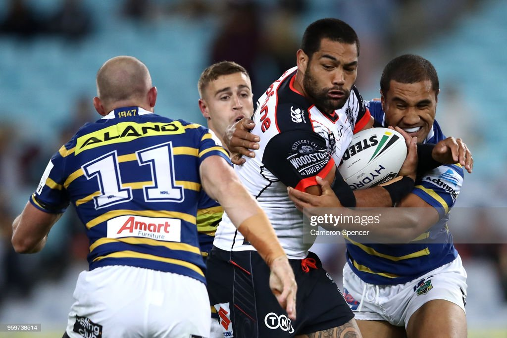Adam Blair of the Warriors is tackled during the round 11 Parramatta Eels and the New Zealand Warriors at ANZ Stadium on May 18, 2018 in Sydney, Australia.