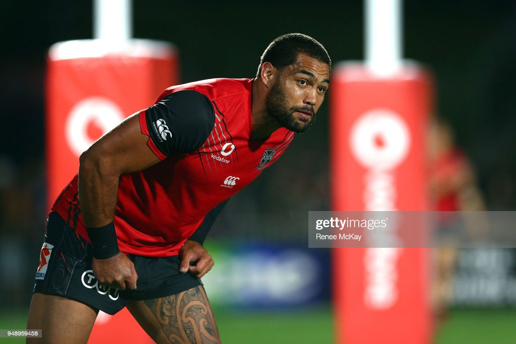 Adam Blair of the Warriors warms up for the round seven NRL match between the New Zealand Warriors and the St George Illawarra Dragons at Mt Smart Stadium on April 20, 2018 in Auckland, New Zealand.