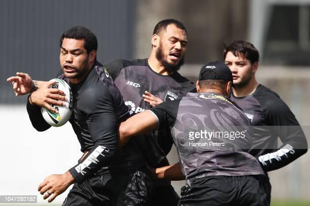 Adam Blair runs through drills during a New Zealand Kiwis training session at Mt Smart Stadium on October 8 2018 in Auckland New Zealand