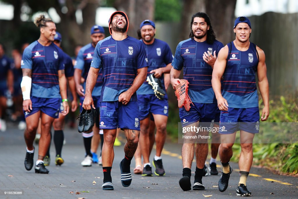 Adam Blair, Tohu Harris and Roger Tuivasa-Sheck arrive for a New Zealand Warriors NRL training session at Mt Smart Stadium on February 8, 2018 in Auckland, New Zealand.
