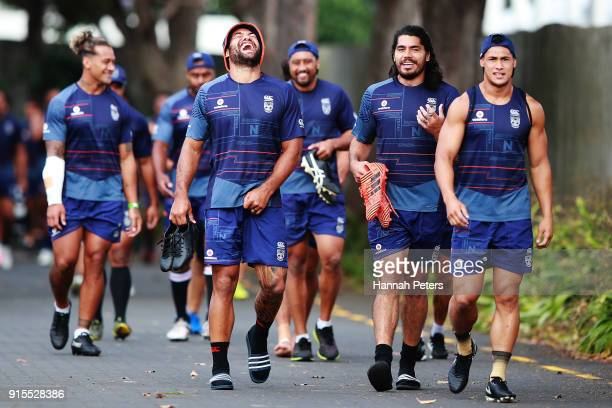 Adam Blair Tohu Harris and Roger TuivasaSheck arrive for a New Zealand Warriors NRL training session at Mt Smart Stadium on February 8 2018 in...