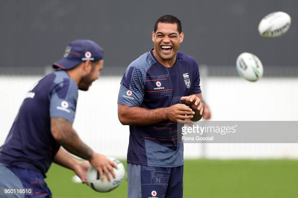 Adam Blair trains with the team during a New Zealand Warriors NRL media session at Mt Smart Stadium on April 23, 2018 in Auckland, New Zealand.