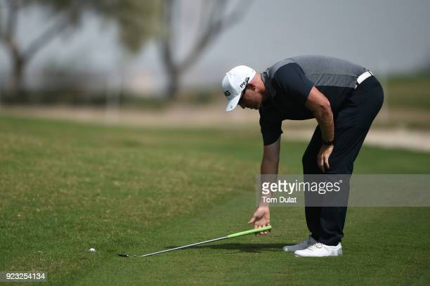 Adam Bland of Australia assesses his options during the second round of the Commercial Bank Qatar Masters at Doha Golf Club on February 23 2018 in...