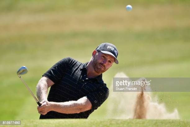 Adam Bland of Australia hits a bunker shot during a practice round prior to the 146th Open Championship at Royal Birkdale on July 17 2017 in...