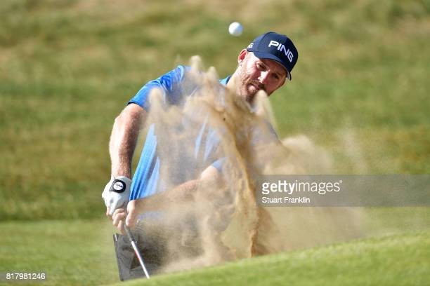 Adam Bland of Australia hits a bunker shot during a practice round prior to the 146th Open Championship at Royal Birkdale on July 18 2017 in...