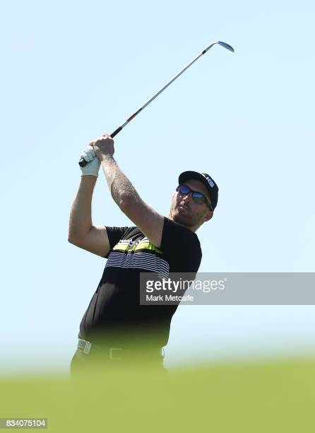 Adam Bland of Australia hits an approach shot on the 7th hole during day two of the 2017 Fiji International at Natadola Bay Championship Golf Course...