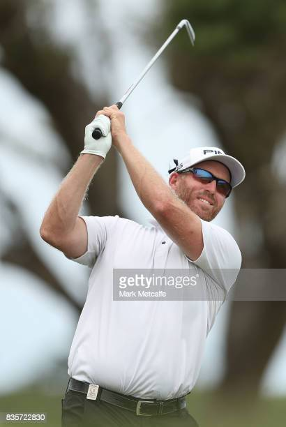Adam Bland of Australia hits his second shot on the 17th hole during day four of the 2017 Fiji International at Natadola Bay Championship Golf Course...
