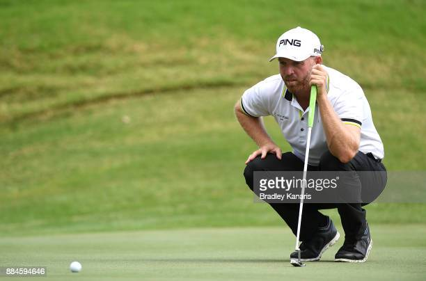 Adam Bland of Australia lines up a putt during day four of the 2017 Australian PGA Championship at Royal Pines Resort on December 3 2017 in Gold...