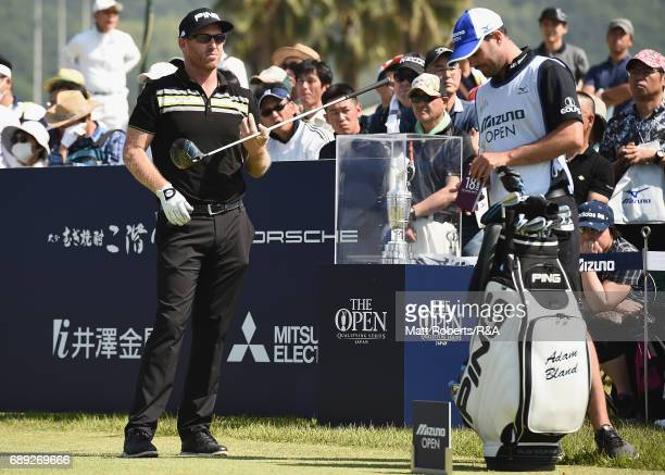 Adam Bland of Australia looks on at the 1st hole during the final round of Mizuno Open at JFE Setonaikai Golf Club on May 28 2017 in Okayama Japan