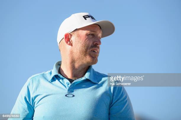 Adam Bland of Australia looks on during day one of the New Zealand Open at The Hills on March 9 2017 in Queenstown New Zealand