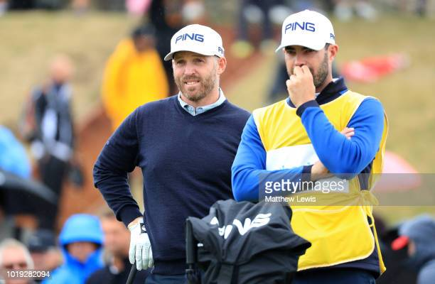 Adam Bland of Australia looks on with his caddie on the 1st tee during day four of the Nordea Masters at Hills Golf Club on August 19 2018 in...