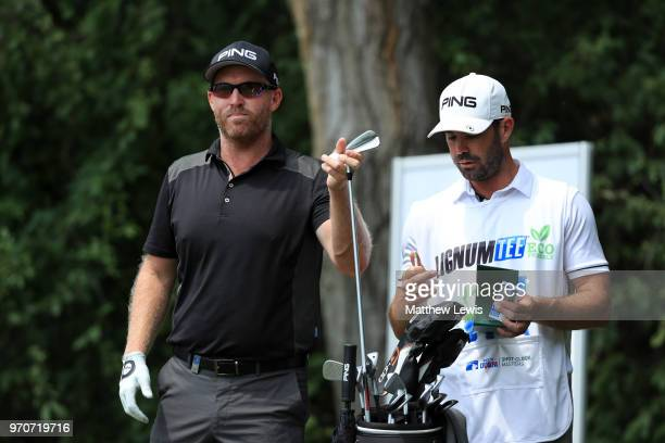 Adam Bland of Australia looks on with his caddy during day four of The 2018 Shot Clock Masters at Diamond Country Club on June 10 2018 in Atzenbrugg...