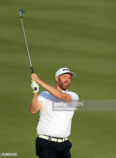 Adam Bland of Australia on the par four 6th hole during the second round of the NBO Oman Open at Al Mouj Golf on February 16 2018 in Muscat Oman