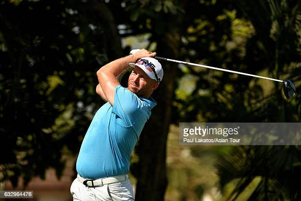 Adam Bland of Australia plays a shot during round four of the Leopalace21 Myanmar Open at Pun Hlaing Golf Club on January 29 2017 in Yangon Myanmar