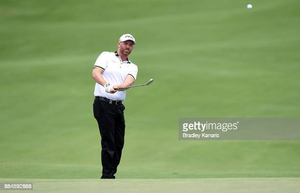 Adam Bland of Australia plays a shot on the 8th hole during day four of the 2017 Australian PGA Championship at Royal Pines Resort on December 3 2017...