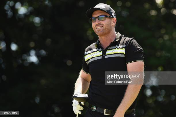 Adam Bland of Australia smiles after his tee shot on the 6th hole during the final round of Mizuno Open at JFE Setonaikai Golf Club on May 28 2017 in...