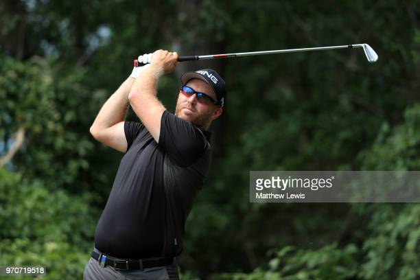 Adam Bland of Australia tees off on the 5th hole during day four of The 2018 Shot Clock Masters at Diamond Country Club on June 10 2018 in Atzenbrugg...