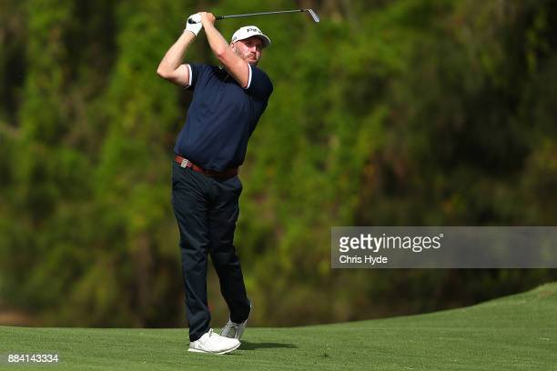 Adam Bland plays a shot during day three of the 2017 Australian PGA Championship at Royal Pines Resort on December 2 2017 in Gold Coast Australia