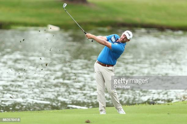 Adam Bland plays his second shot during day one of the 2017 Australian PGA Championship at Royal Pines Resort on November 30 2017 in Gold Coast...