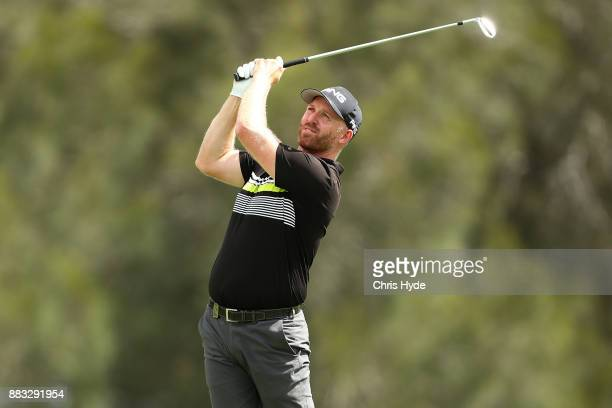 Adam Bland plays his second shot during day two of the Australian PGA Championship at Royal Pines Resort on December 1 2017 in Gold Coast Australia