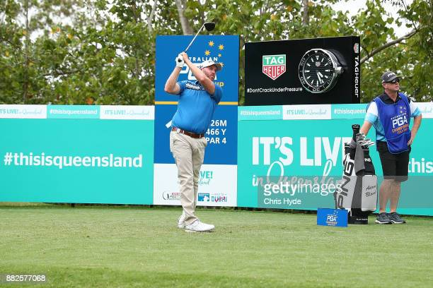 Adam Bland tees off on the 18th hole during day one of the 2017 Australian PGA Championship at Royal Pines Resort on November 30 2017 in Gold Coast...
