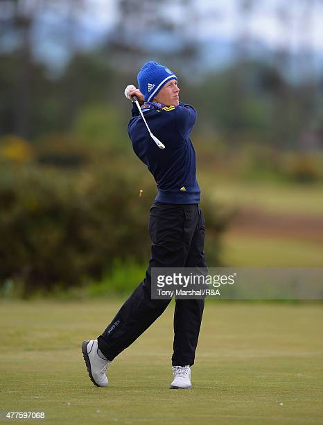 Adam Blomme of Sweden plays his first shot on the 15th tee during The Amateur Championship 2015 Day Four at Carnoustie Golf Club on June 18 2015 in...