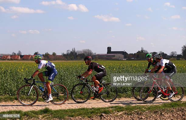 Adam Blythe of Great Britain and Orica Greenedge leads the breakaway group during the 113th edition of the ParisRoubaix cycle race from Paris to...