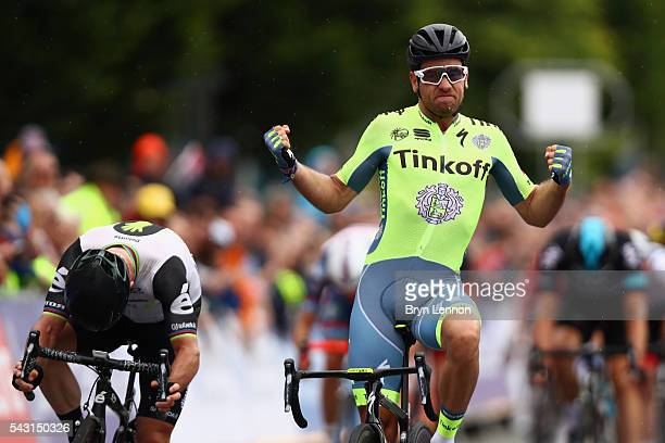 Adam Blythe of Great Britain and Tinkoff celebrates winning the Elite Men's 2016 National Road Championships on June 26 2016 in StocktononTees England
