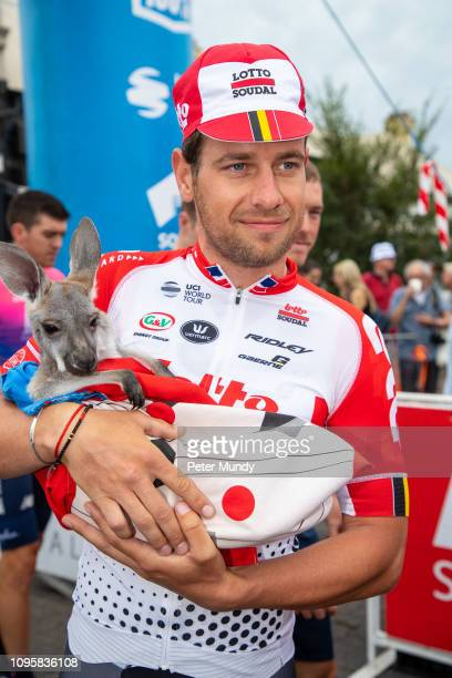 Adam Blythe of UK and LottoSoudal holding a baby Kangaroo before the start of Stage 4 from Unley to Campbelltown of the Santos Tour Down Under on...