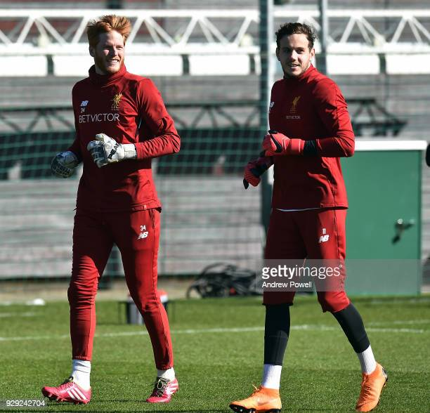 Adam Bogdan and Danny Ward of Liverpool during a training session at Melwood Training Ground on March 8 2018 in Liverpool England
