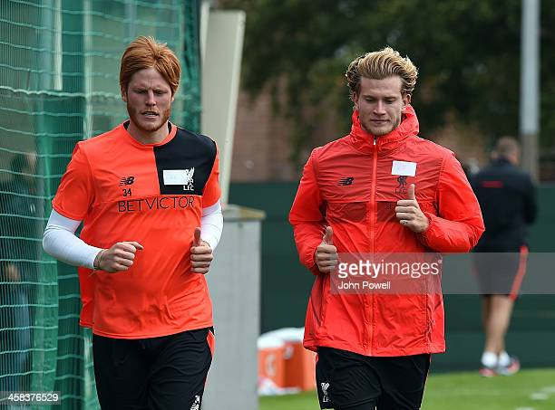 Adam Bogdan and Loris Karius of Liverpool durring the first day back at Training in Melwood Training Ground on July 2 2016 in Liverpool England