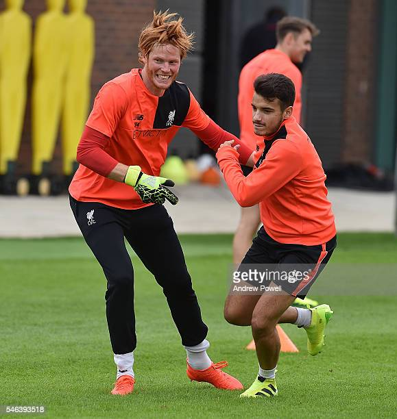 Adam Bogdan and Pedro Chirivella of Liverpool during a training session at Melwood Training Ground on July 12 2016 in Liverpool England
