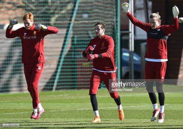 Adam Bogdan Danny Ward and Loris Karius of Liverpool during a training session at Melwood Training Ground on March 8 2018 in Liverpool England