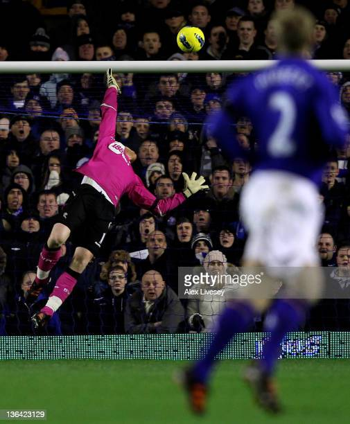 Adam Bogdan of Bolton Wanderers is unable to stop Tim Howard of Everton scoring the opening goal during the Barclays Premier League match between...