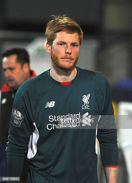 Adam Bogdan of Liverpool after the Liverpool and Tottenham Hotspur Barclays U21 Premier League game at the Lookers Vauxhall Stadium on January 25...