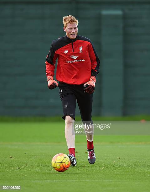 Adam Bogdan of Liverpool during a training session at Melwood Training Ground on December 24 2015 in Liverpool England