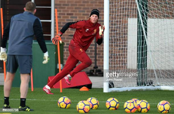 Adam Bogdan of Liverpool during a training session at Melwood Training Ground on December 11 2017 in Liverpool England
