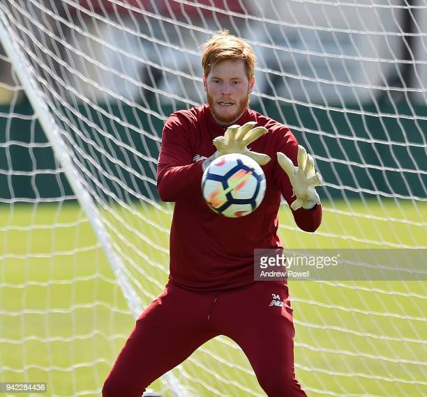 Adam Bogdan of Liverpool during a training session at Melwood Training Ground on April 5 2018 in Liverpool England