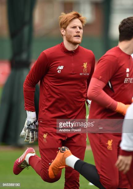Adam Bogdan of Liverpool during a training session at Melwood Training Ground on April 12 2018 in Liverpool England