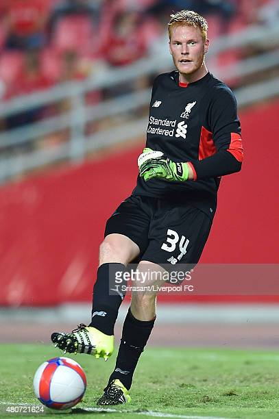 Adam Bogdan of Liverpool kicks the ball during the international friendly match between Thai Premier League All Stars and Liverpool FC at Rajamangala...