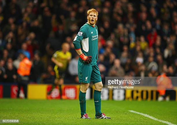 Adam Bogdan of Liverpool looks dejected as Odion Ighalo of Watford scores their third goal during the Barclays Premier League match between Watford...