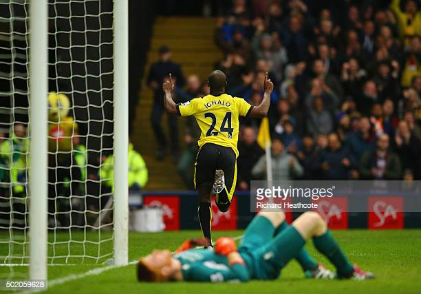 Adam Bogdan of Liverpool looks dejected as Odion Ighalo of Watford celebrates as he scores their third goal during the Barclays Premier League match...